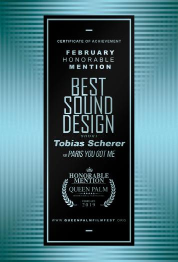 HONORABLE MENTION Best Sound Design - Short Film Tobias Scherer