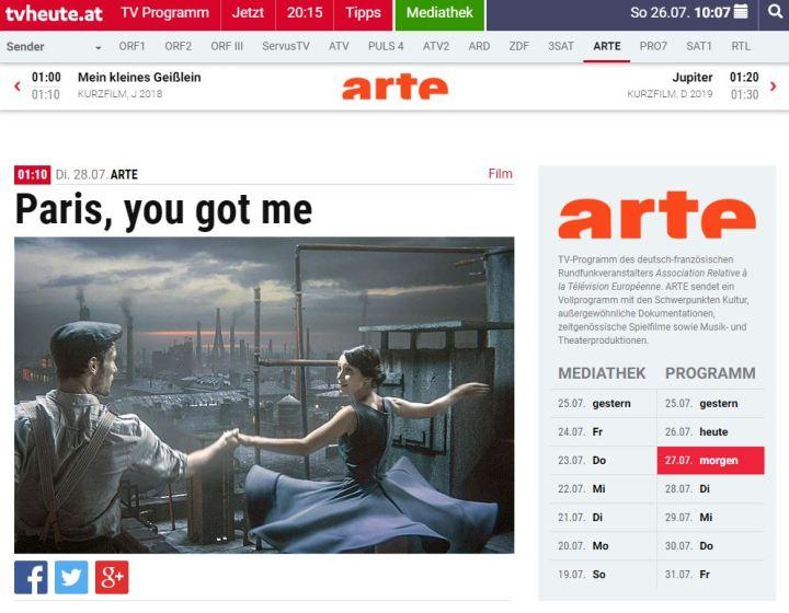 tv premiere auf ARTE Paris you got me by Julie Boehm